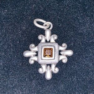 Jewelry - Silver & Amber Colored Pendant